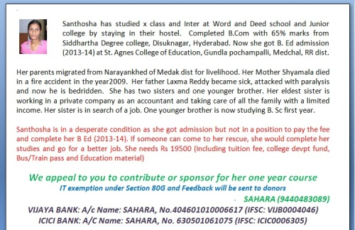 help santhosha to complete her B.Ed.
